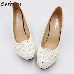 Image 2 - Sorbern פרפר תחרת Appliquess חתונה נעליים להחליק על משאבת כלה נעלי פלטפורמה גבוהה עקבים קצר עקבים המחודד עקבים נשים