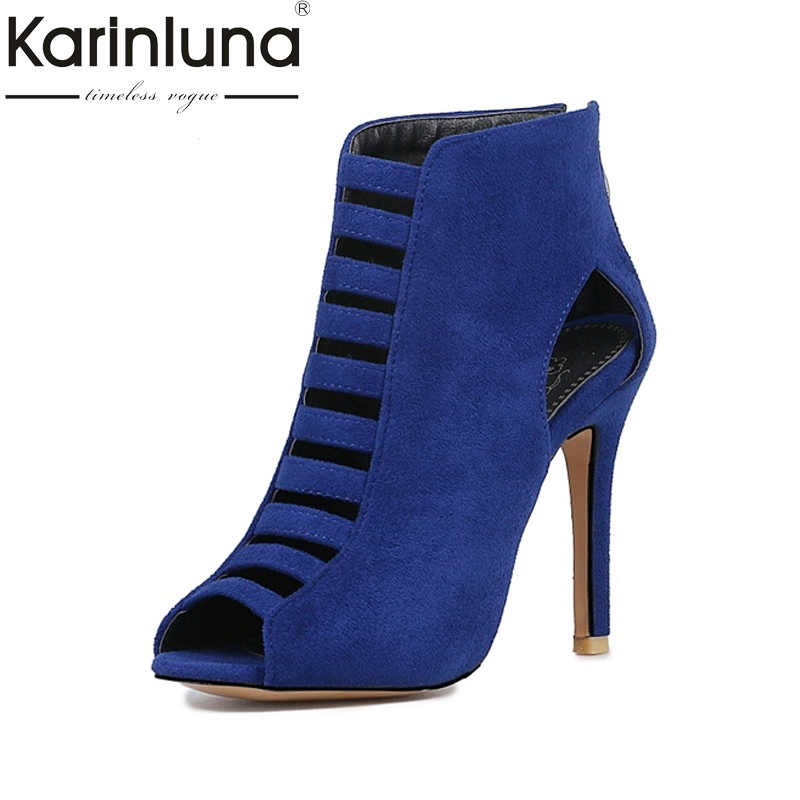 KARINLUNA Big Size 32-46 Hot Women Gladiator Sandals Sexy High Heels Cutout Peep Toe Less Platform Summer Woman Shoes 2018 cdts 35 45 46 summer zapatos mujer peep toe sandals 15cm thin high heels flowers crystal platform sexy woman shoes wedding pumps