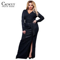 New Sequin Split Long Dress Maxi 6XL Plus Size Women Dress Shiny Evening Party Dresses Large Big Size Winter Robe Clothing Blue