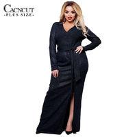 New Sequin Split Long Dress Maxi 6XL Plus Size Women Dress Shiny Evening Party Dresses Large