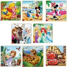 ألعاب ديزني فروزن ميكي ميني ماوس مطبوعة ألعاب تعليمية تعليمية خشبية مثيرة للأطفال هدايا أطفال Brinquedos