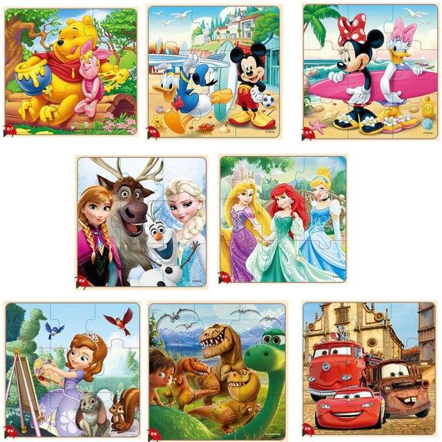 Disney congelado Mickey Minnie Mouse impreso rompecabezas Educación Aprendizaje interesante juguetes de madera para niños regalo Brinquedos