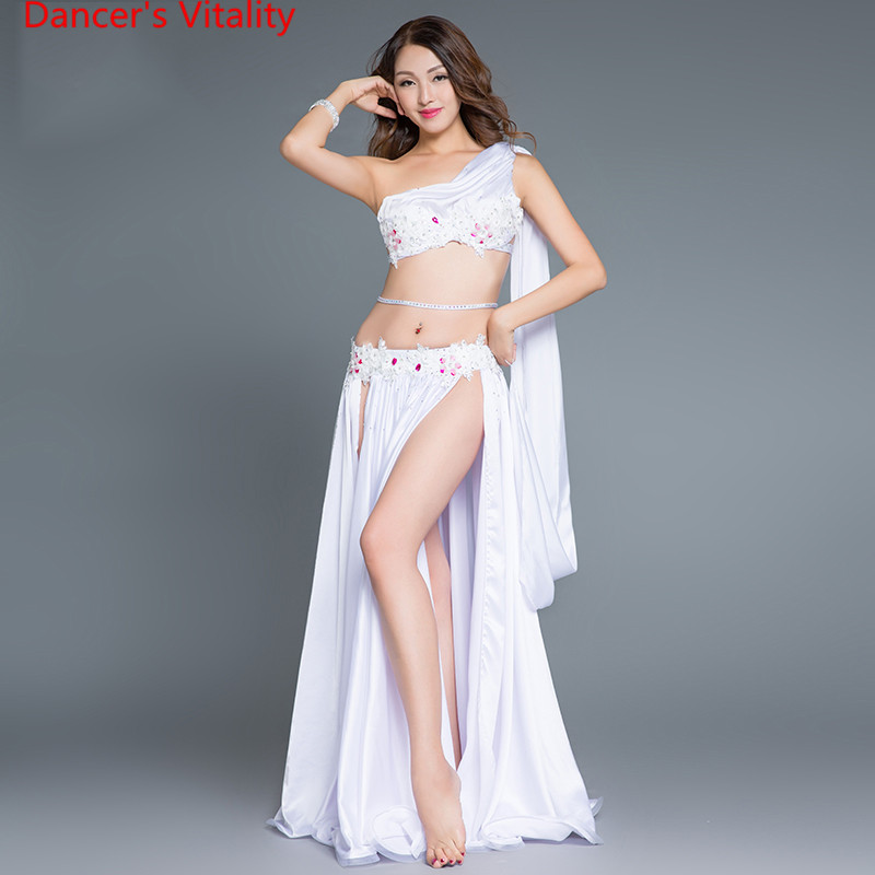 New performance Arrival Belly Dance Long Skirt Set Sexy Dancer Practice Costume Set purple white Red