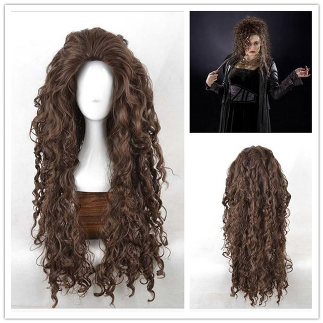 Movie Film Character Bellatrix Lestrange Cosplay Wig Long Brown Curly Heat Resistant Synthetic Hair Costume Wigs + Wig Cap