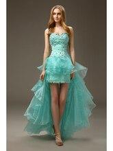 2016 Short Prom Mint High Low Liebsten Perlen Mantel Organza Prom Cocktailkleider für Frauen 2016 pd9930