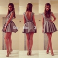 Elegant Grey Short Cocktail Dresses Cap Sleeves Coctail Beaded Short Prom Dress robe de Cocktail Party Dress