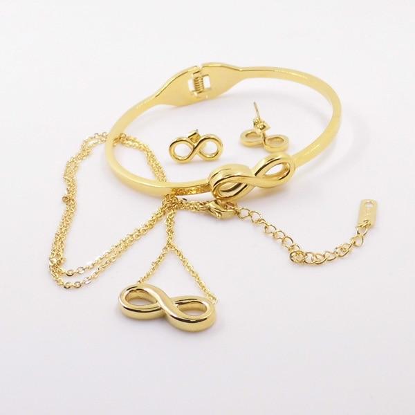 Hot S Infinity Jewelry Sets Including Earring Bracelets Necklace 24k Gold Silver
