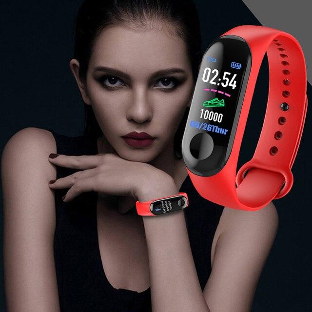 Colore IPS Dello Schermo Smart Sport Fitness Braccialetto IP65 Impermeabile Misuratore di Pressione Sanguigna Activity Tracker Pedometro Per Gli Uomini Le Donne PK M3 M2