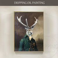Excellent Artist Pure Hand painted High Quality Realist Deer Oil Painting on Canvas Beautiful Deer Oil Painting for Wall Decor