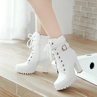 Dropshipping High Heels Women Ankle Boots Lace Up Fall Winter Platform Ladies Boots Large Size Fashion Shoes White Black Brown
