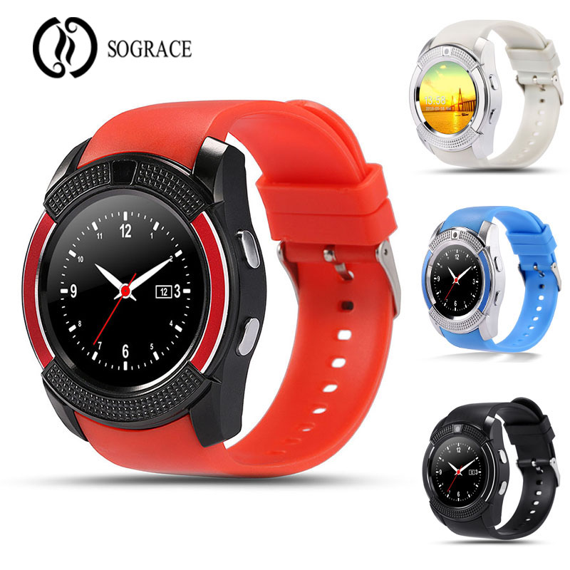 Sograce Smart Watch V8 Support SIM / TF Card Bluetooth Connection for Samsung Xiaomi Android Phone Calling Camera Smartwatch