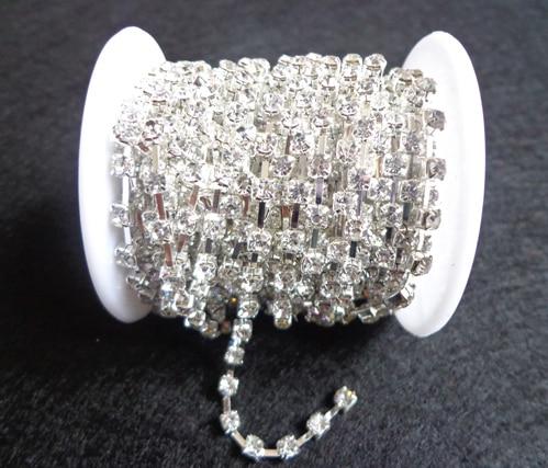っFree shipping! SS14 sparse crystal rhinestone silver base 10yards ... 2862842f648d
