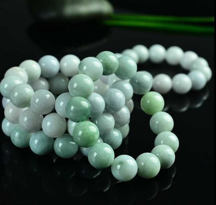 """100/% Natural Untreated /""""A/"""" Beautiful Chinese Jadeite Jade Beads Necklace 8mm AA+"""