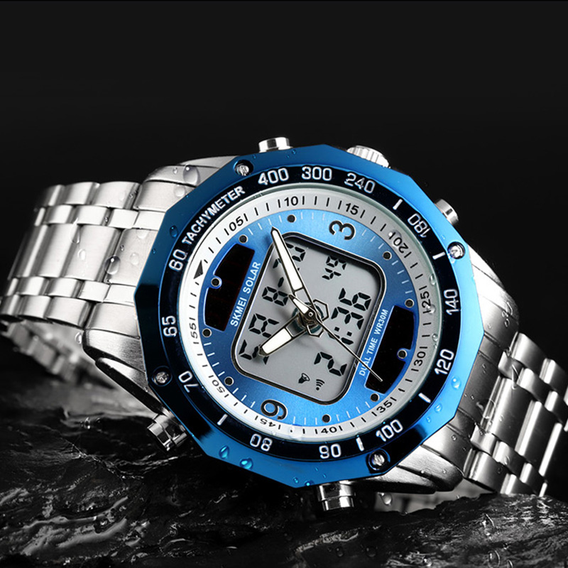 Image 4 - Solar Men Military Sport Watches Men's Digital Quartz Clock Full Steel Waterproof Wrist Watch relojes hombre 2019 SKMEI-in Quartz Watches from Watches