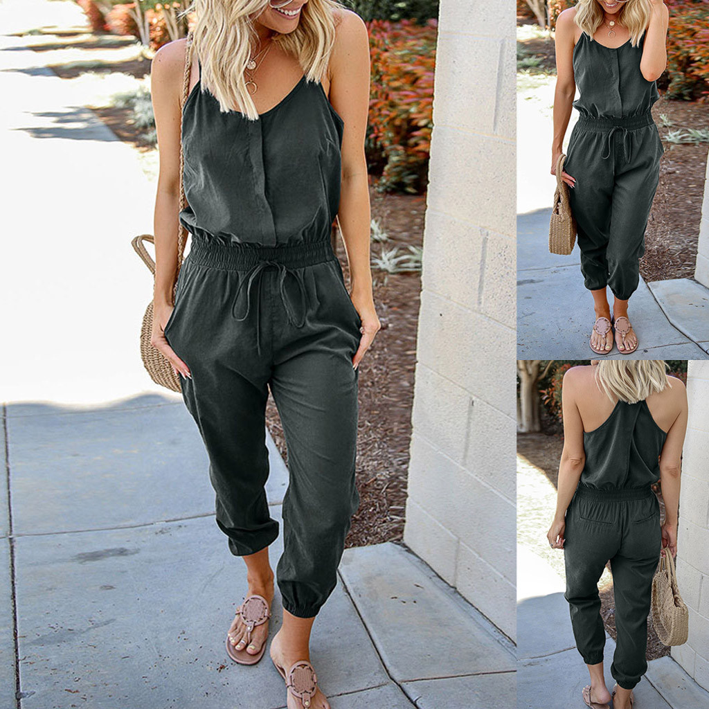 Women Solid O-Neck Sleeveless Off Shoulder Bandage Casual   Jumpsuits   Spring Summer Autumn Women   Jumpsuit