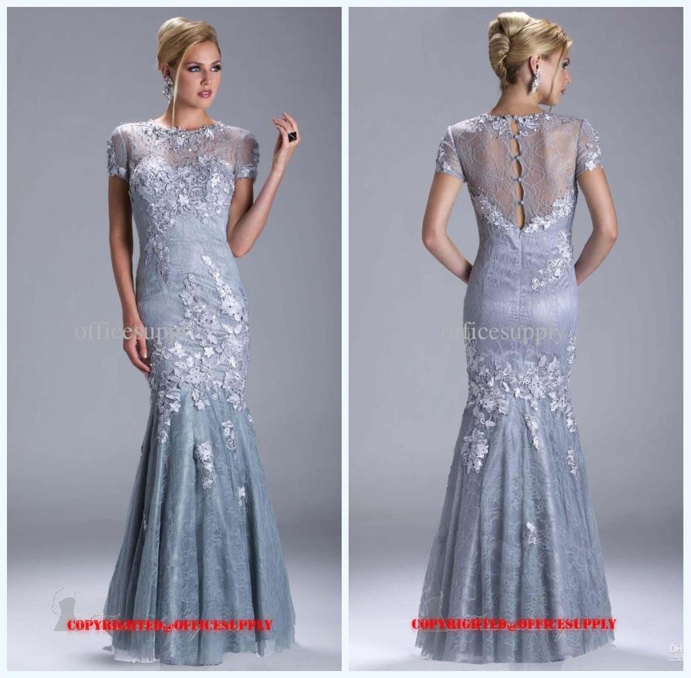 High Neck Short Sleeve Long Formal Dresses