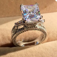 CHOUCONG Jewelry 925 Silver Eiffel Tower Pave Setting CZ Princess Cut Big 8CT Stone Rings Cocktail