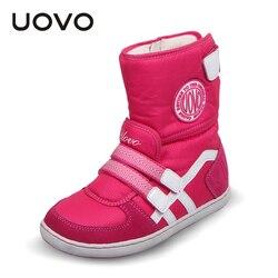 Botas calientes de invierno para niños de marca UOVO para niñas y niños, botas de nieve de moda para niñas, botas cortas cálidas y bonitas para niñas talla 26 #-37 #