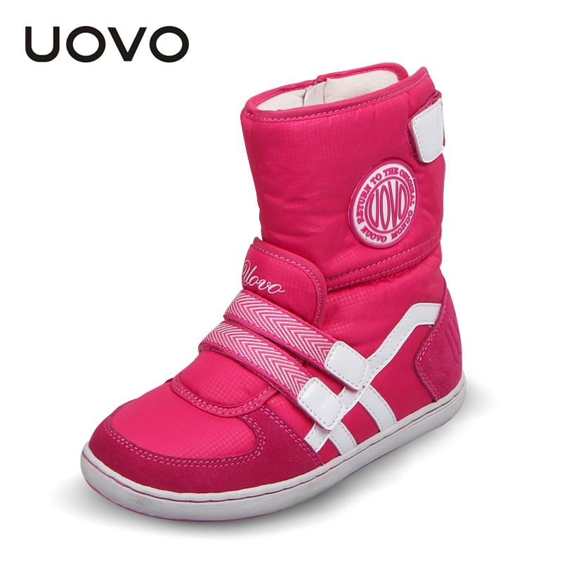 Горячая UOVO Брендовая детская обувь зимние сапоги для девочек и мальчиков модные детские зимние сапоги теплые красивые короткие сапоги для девочек размер 26 # 37 #