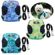 Winter Dog Harness Vest Collar with Leash Set Pet Walking Harness Adjustable Cat Led Reflective for Puppy Small Medium Large Dog