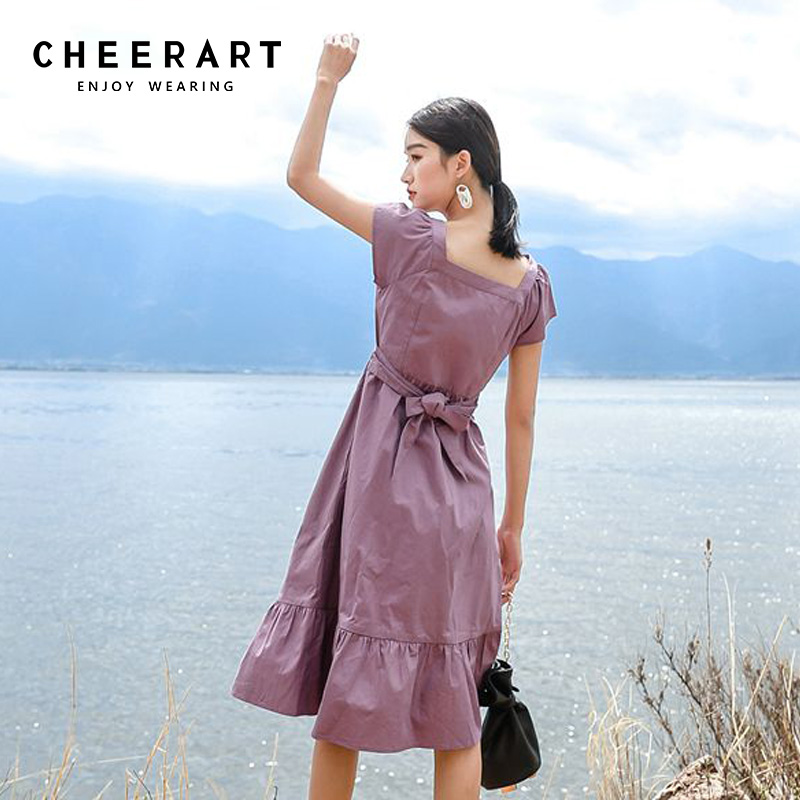 848df9d441284 US $27.12 40% OFF|Cheerart Vintage Purple Button Midi Dress Women Summer  Cotton Square Collar Lace Up Long Dresses Sleeveless Holiday Dresses-in ...