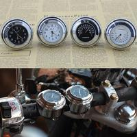 Universal Chrome Motorcycle Waterproof Handlebar Mount Clock Thermometer