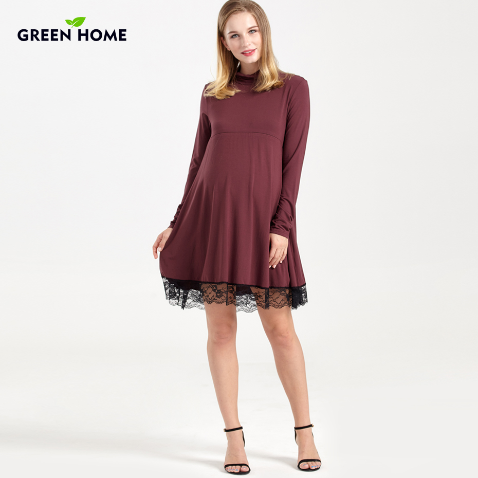 Green Home Maternity Dress Lace Modal Long Sleeve Winter Pregnancy Clothing Thicken For Women Wear Nursing Breastfeeding Dress trendy see through off the shoulder long sleeve lace blouse for women