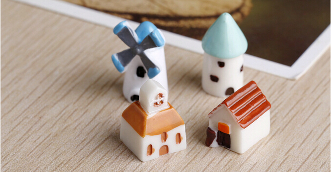 2set arrival 4pcs/set cute kid doll baby Doll Action Figures with Mini castle church hut windmill for children gifts