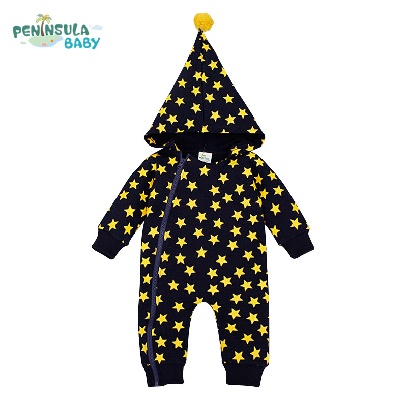 Designer Funny Baby Clothing Hooded Romper Newborn Boys Clothes Star Print Girls Jumpsuit Halloween Xmas Clothing Roupa Infantil puseky 2017 infant romper baby boys girls jumpsuit newborn bebe clothing hooded toddler baby clothes cute panda romper costumes