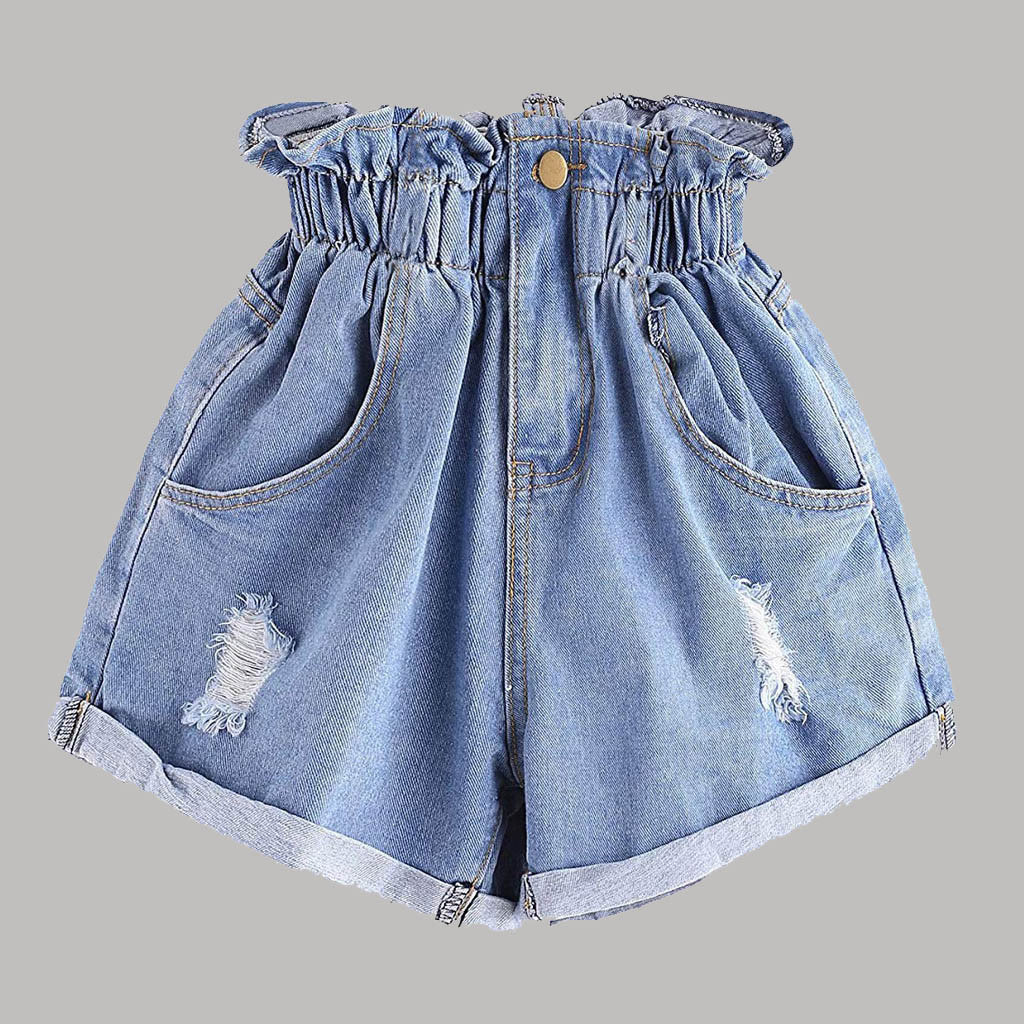 CHAONAN High Waist Denim Shorts Flower Trousers Fashion Casual Denim Shorts Slim Summer Casual Trousers Jeans Female