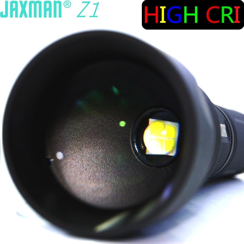 JAXMAN Z1 Turning Optical Zoom Flashlight Torch with AR Coating Glass Lense high CRI CREE XHP50