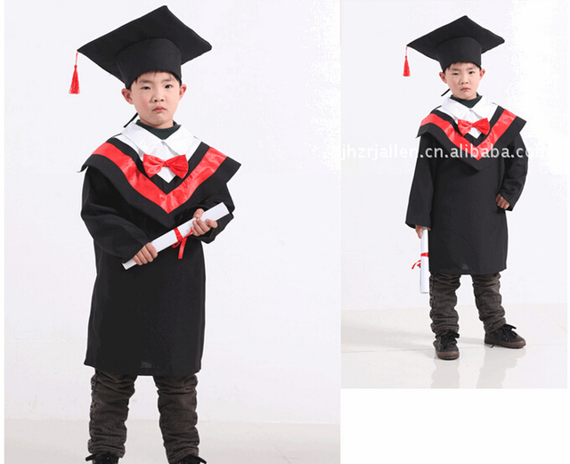 Children Deluxe Black Graduate Hat Graduation Gown Accessory ...