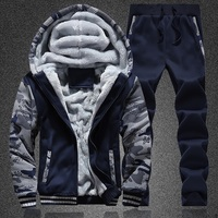 Zipper Polyester Velour Tracksuit Men Sweat Suit Set Tracksuit for Men 2 Pieces Set Drawstring Solid Sweatpants Hat Men Hoodie