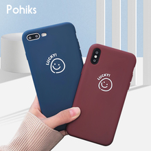 Pohiks Korean Style Smiling Face Cover For iPhone XS Max XR 7 8 Plus Cute LUCKY Letter Smiley Phone Case iphone 6 6s