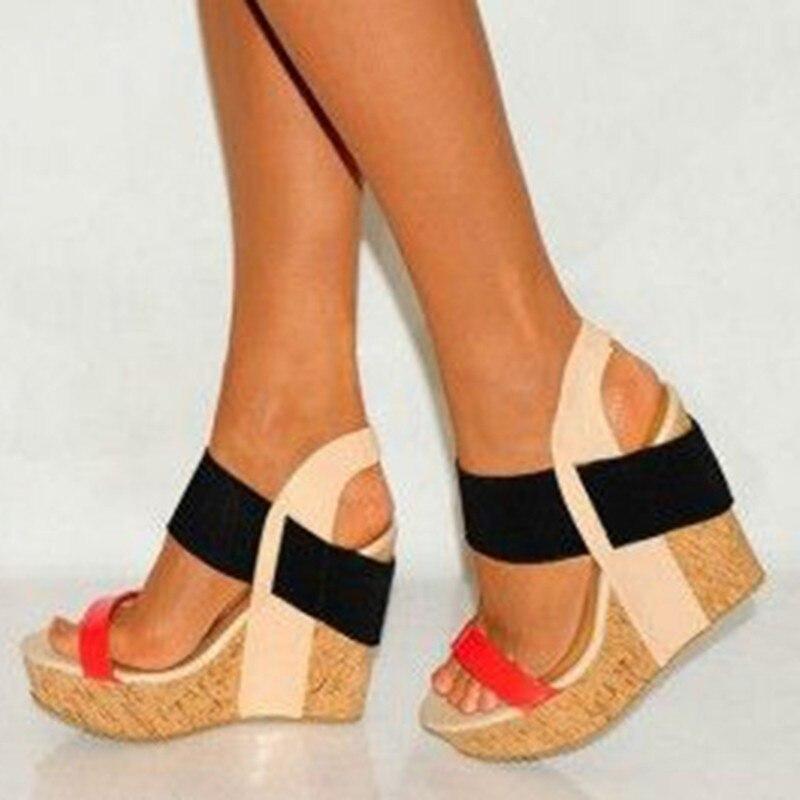 Mode Verschiffen Frauen Sandalen Größe Cm Süße Leder rot 15 Schuhe Sandalen Freies Bunte 34 45 Shofoo Keile hellgrün Orange wIqAPEH