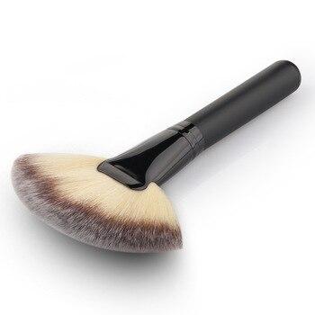 バレル 1 ピース実数黒大ファンブラシ驚くほどソフト/スーパーふわふわパウダーブラシ赤面ブラシ化粧品美容ツールプロ