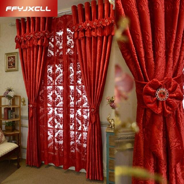 Europa Casa Decorao Vermelha Grande Jacquard Blackout Cortina Para O Casamento Quarto sala de