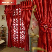 Europa Home Decoration Big Red Jacquard Blackout cortina para el matrimonio sala de estar dormitorio cortinas de tratamiento de ventana