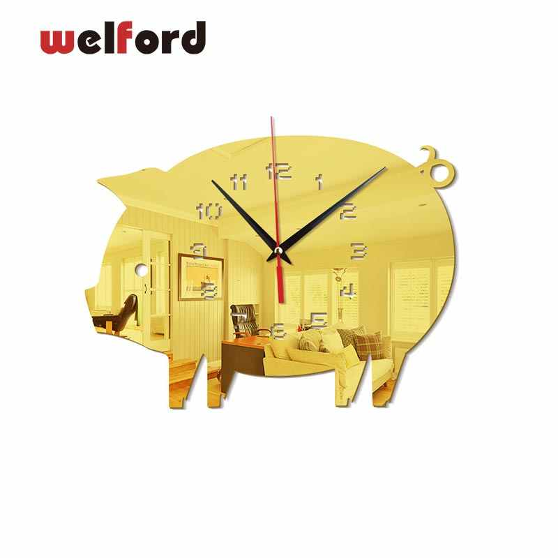 3D fly pig wall clocks modern European design Digital wall clock watch acrylic mirror stickers for Bedroom Living Room 27x22cm