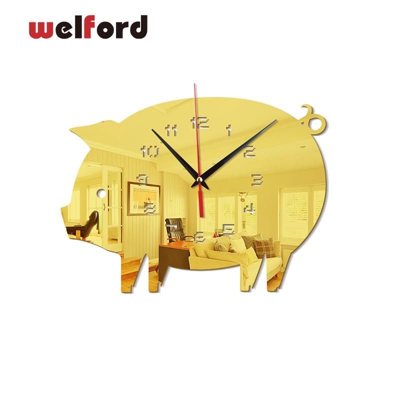 3D Fly Pig Wall Clocks Modern European Design Digital Wall Clock Watch Acrylic Mirror Stickers For Bedroom Living Room 27x22cm