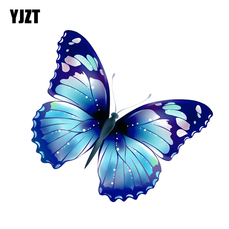YJZT  14CM*13.3CM Funny Butterfly Decoration Decal PVC Motorcycle Car Sticker 11-00653