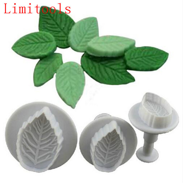 3Pcs Cake Rose Leaf Plunger Fondant Decorating Sugar Craft Mold Cutter Cake Decorating Pastry Cookie Cake Tools Free Shipping