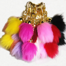 Colorful Fake Fox Fur Key ChainsCylindrical Rosebud Design Pom pom Car Key Ring Bag Chain Personality Hang Keychains Long Pompon
