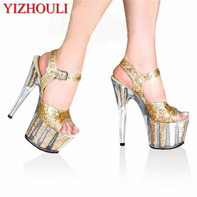 2018 Gold Crystal Glitter Sandals 15cm Ultra High Heels Platform Dance  Shoes Gorgeous 6 Inch Crystal Shoes