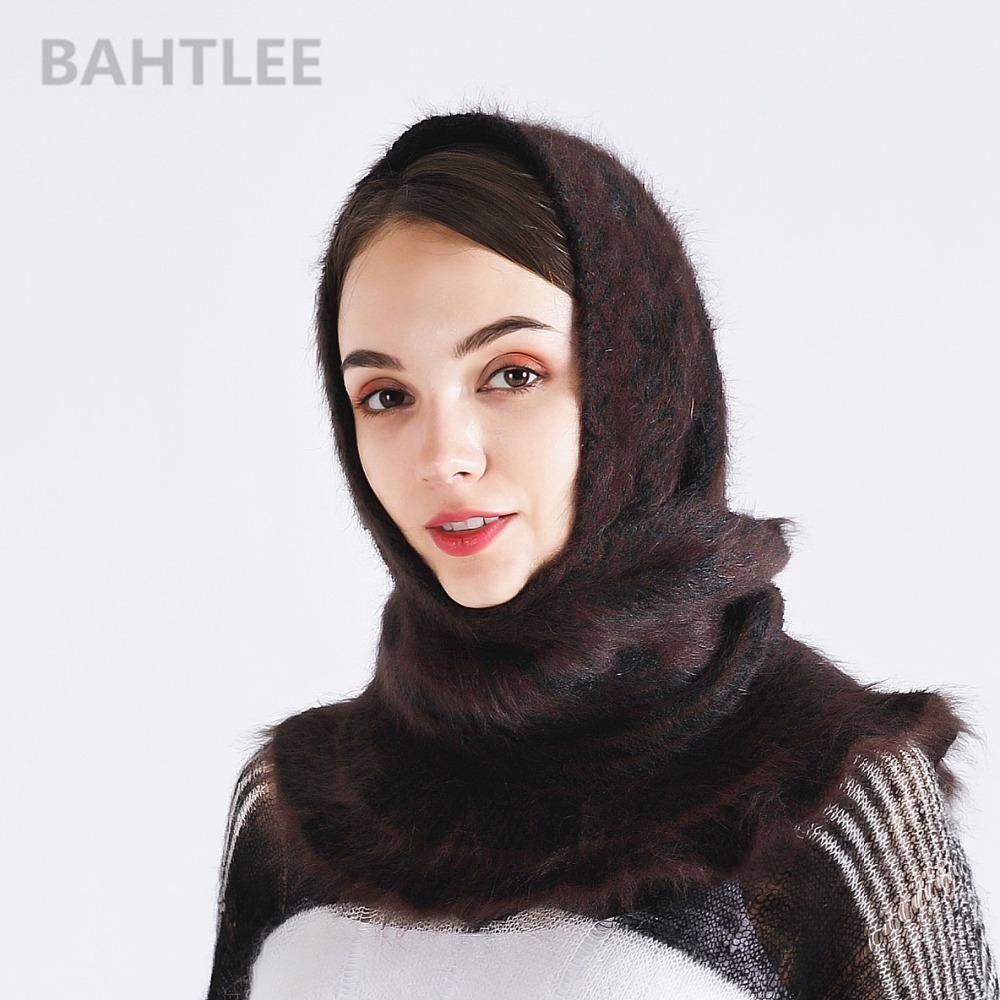 BAHTLEE Winter Muslim Women Girl Angora Rabbit Turban Hijab Poncho Triangular Shawl Knitted Scarf Real Fur Wrap Cloak Cape