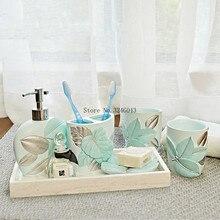 Stile europeo bagno cinque pezzi set di lavaggio Luce di lusso bagno bottiglia di lozione spazzolino tazza titolare bagno di nozze forniture