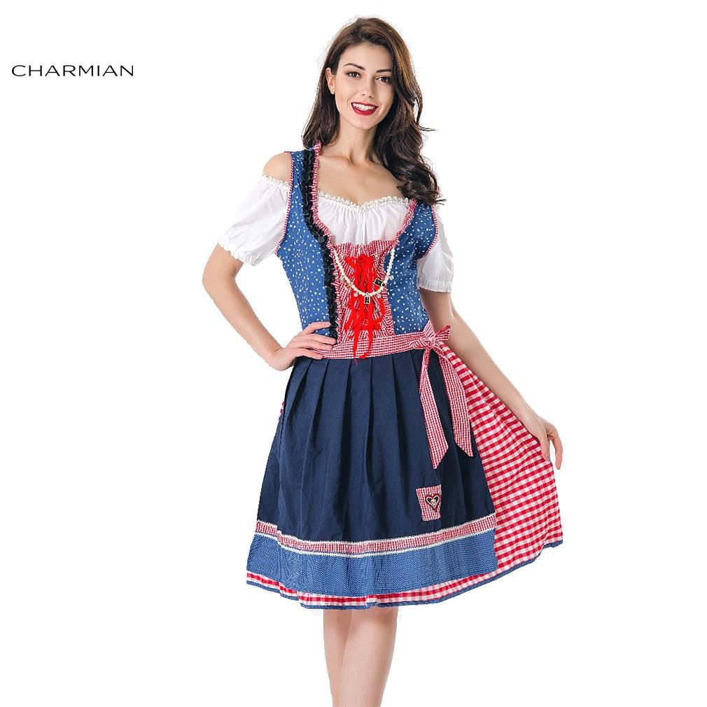 Charmian Bavarian Maid German Beer Girl Oktoberfest Costume for Women Cosplay Costume Halloween Carnival Fancy Dress