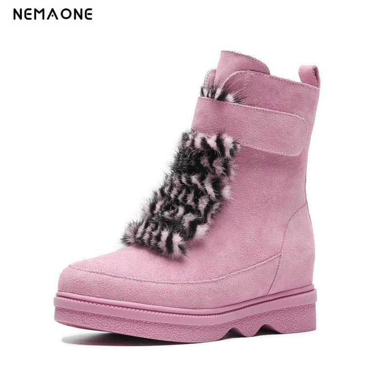 Caliente rosado Negro Mujer Casuales Botas Cuero Mujeres Invierno Nemaone  Zapatos Botines Nieve Felpa Suede Fxw4WOnpgq 61a7298574c5