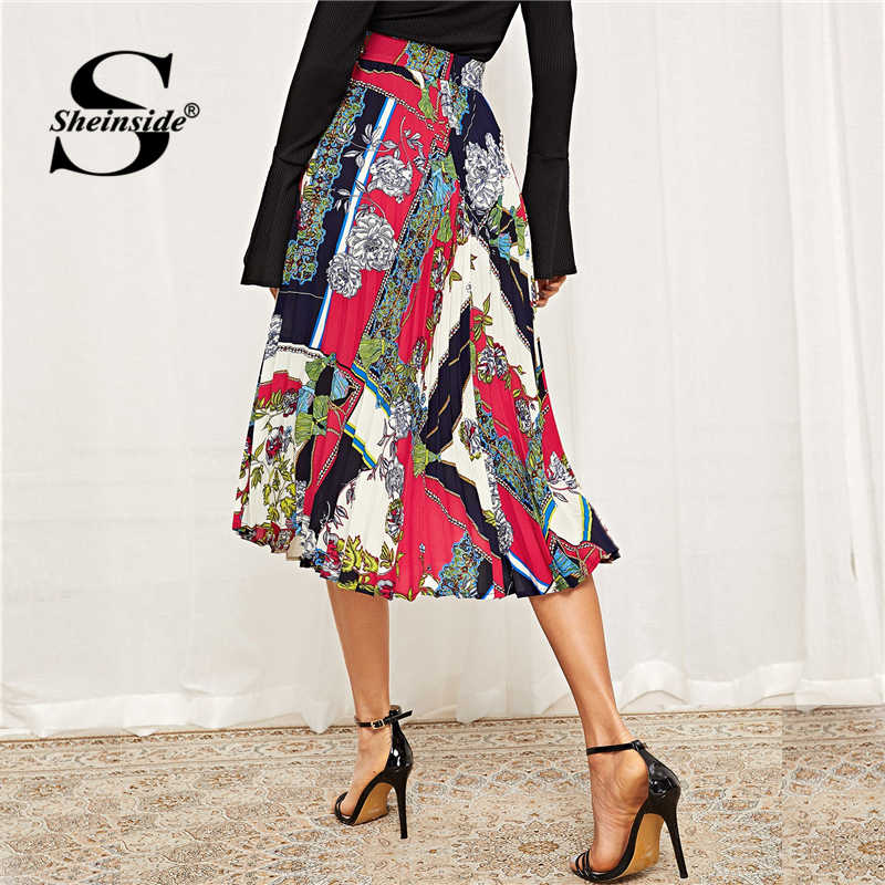 af5e85c6c1 ... Sheinside Elegant Scarf Print Chiffon Pleated Skirt 2019 Spring Mid  Waist Skirts Womens Clothing Office Ladies ...
