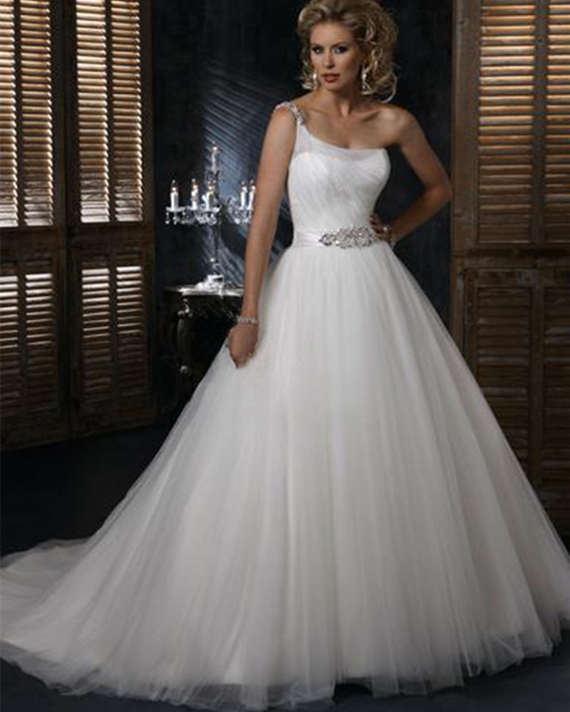 abule wholesale 2016 new designer one shoulder crystal sweetheart lace princess wedding dress white bridal gown
